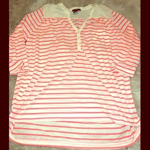 H&M White & Coral Striped 3/4 Sleeve Top